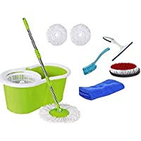 Mop'n'me 360° Spin Floor Cleaning Bucket Mop Blue with Free 2 Microfiber Refill Cleaning Wipe Combo Set Glass Wiper, Microfiber Cloth, Sink Brush, Cloth Brush