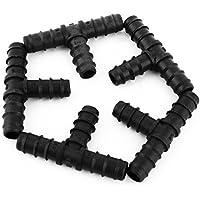 DealMux plástico T forma de tubo de púas de 16 mm Herrajes Adaptador Conector de tubos Diámetro externo 5pcs Negro
