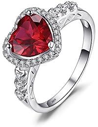 JewelryPalace 925 plata Anillo con rubí en forma de corazón