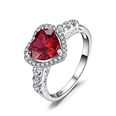 Idea Regalo - JewelryPalace Cuore Of Ocean 2.7ct Sintetico Rosso Rubino Amore Eterno Halo Promessa Anello 925 Sterling Argento 11.5