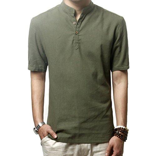 Hoerev camicie casual manica corta lino slim fit camicie beach