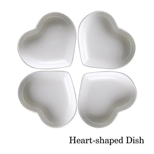 Super süße Herz sharpe Keramik-Soße Dish, Mini Side Gewürzschale, Würze Gerichte / Sushi-Soja-Dipping-Schüssel, Snack-Serviergeschirr, Liebe Porzellan kleine Untertasse Set (4er Set)