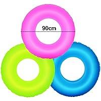 ZHANGJIANJUN 1pc Piscina Inflable Ring de Flotación de la Piscina de Natación de Fluorescencia de Juguetes de Agua para Niños Adultos Anillo de Color Aleatorio 55 XR-Hot,80cm.