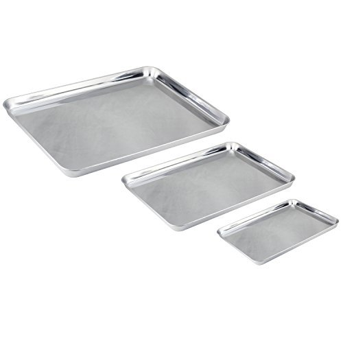 Mujiang Stainless Steel Baking Sheet Professional Cookie Sheet Toaster Oven Tray, Non Toxic & Healthy, Mirror Finish & Rust Free, Deep Edge & Easy Clean - Dishwasher Safe, Set of 3