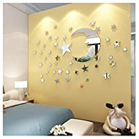 ATFUNSHOP Mirror Wall Stickers Moon and Star Home Decoration for Kids Living Room Silver Reflection