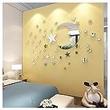 Spiegel Wandaufkleber Mond und Sterne Dekoration für Kinder Wohnzimmer Silber Reflexion