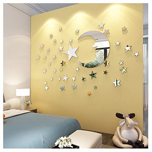 Etiquetas engomadas pared espejo Luna estrella decoración