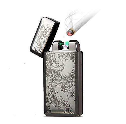 Kivors über USB wiederaufladbares elektrisches Feuerzeug ohne Flamme, mit Doppel-Bogen und Windschutz für Zigaretten schwarz 2