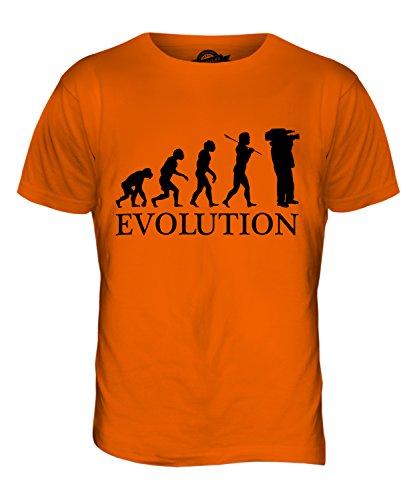 CandyMix Kameraoperateur Evolution Des Menschen Herren T Shirt Orange