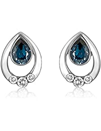 394a5fee4 Mahi Rhodium plated Pretty Blue Drop Earrings Made with Swarovski Elements  for Women ER1194124RBlu