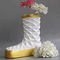 SYBZJJ Sculpture crafts,Fashion shoes long boots vase piece creative resin craft flower arrangement modern fashion style ornaments 25 x 12 x 26CM