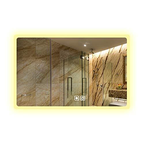 Miroirs Tenture Décoratif LED Lumière De Salle De Bains Tactile (Color : Silver, Size : 70 * 90 * 3cm)