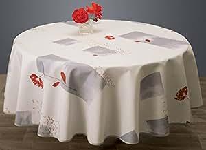 Nappe anti-taches Coquelicot blanc - taille : Ronde diamètre 160 cm