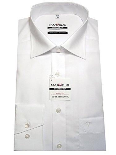 Baumwolle Popeline Hemd (MARVELIS Comfort Fit Hemd Basic Kent Langarm Popeline, Weiß, Gr. 47)