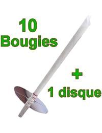 10 Bougies d'oreilles coniques CIRE NEUTRE avec 2 FILTRES protecteurs + 1 Disque de protection