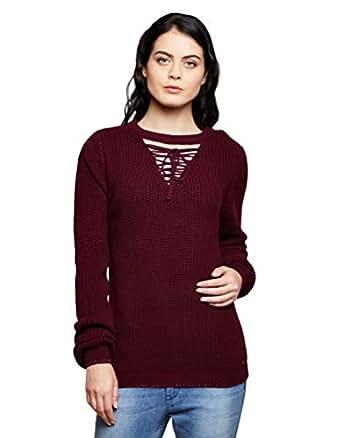 Madame Women's Sweater (M8W17047 383_Dark Cherry_XL)