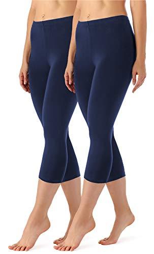 f0e9eb5c7e96ba Merry Style Damen Leggings 3/4 2 Pack MS10-144 (Navy/Navy