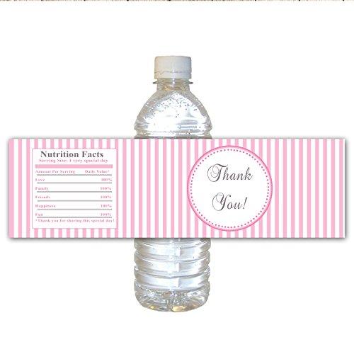 30Bottiglia Etichette Impermeabile Ragazza Compleanno Partito Baby Shower ringrazio Favor strisce rosa modello