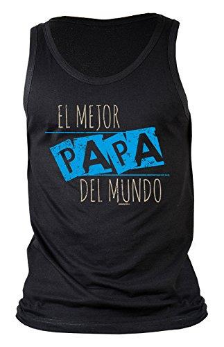 Papa-Top/Männer-Träger-Shirt/Sprüche Tank Top: El mejor Papa del mundo Geschenk/Geburtstag/Vatertag Schwarz