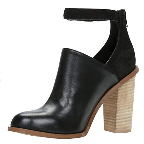 OYSOHE Damen Stiefel Quadratischer Absatz Schnallen Schuh Flacher Mund Starke Ferse Schuhe(Schwarz,40 EU)