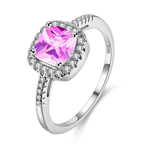Uloveido Cushion Cut Lab Rosa Turmalin Ring, Oktober Birthstone Ring für Mütter, Square Graduation Ring für Freundin (Pink, Größe 54) Y3100