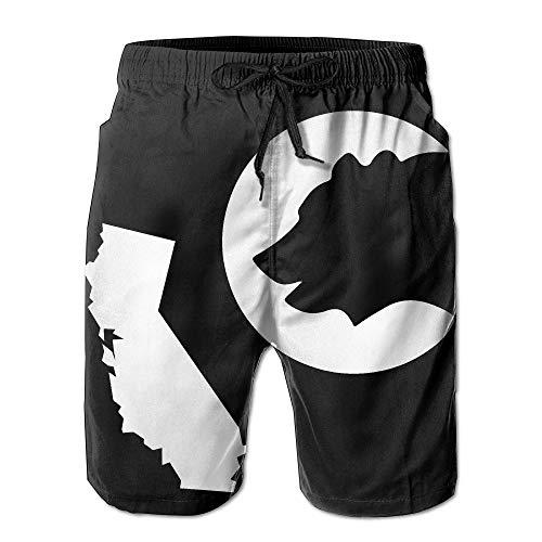 khgkhgfkgfk Mens California State Flag Bear Summer Quick-Drying Swim Trunks Beach Shorts Cargo Shorts X-Large Mid Cut Uniform