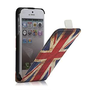 Millésime Union Jack Cuir Étui Coque pour Apple iPhone 5 / 5G / 5S - Flip Case Cover + 2 Films de protection d'écran