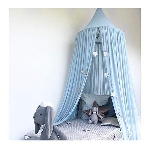 tz für Kinder,Nordischer Stil Betthimmel für Kinder,Prinzessin Baumwolle Moskitonetz Aufhängen,Insektenschutz Babybett Vorhang,für Spiel Lesen Schlafzimmer Babybett Dekoration (Blau) ()
