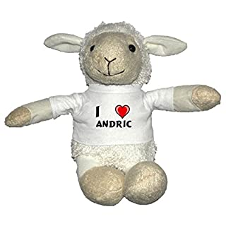 Plush White Sheep with I Love Andric T-shirt (first name/surname/nickname)