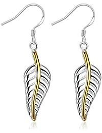 Style Objetivo – Pendientes Anillo Pendientes de oro Hojas de filigrana  Plata 25 mm 1689 dae0ad4276b