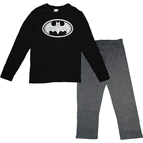 Batman HQ3608 Herren Pyjama Set Lange PJs Baumwolle Schwarz
