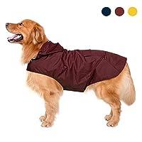 Zellar Dog Raincoat with Hood,Collar Hole, 100% Waterproof Ultra-Light Breathable Rainwear Rain Jacket with Safe Reflective Strips for Medium to Large Dog, Red, 3XL