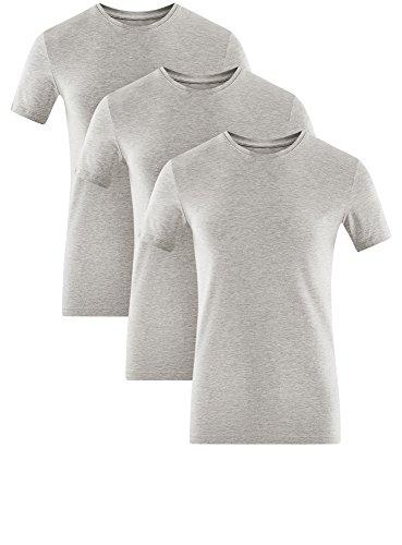 oodji Ultra Herren Tagless T-Shirt Basic (3er-Pack) Grau (2300M)