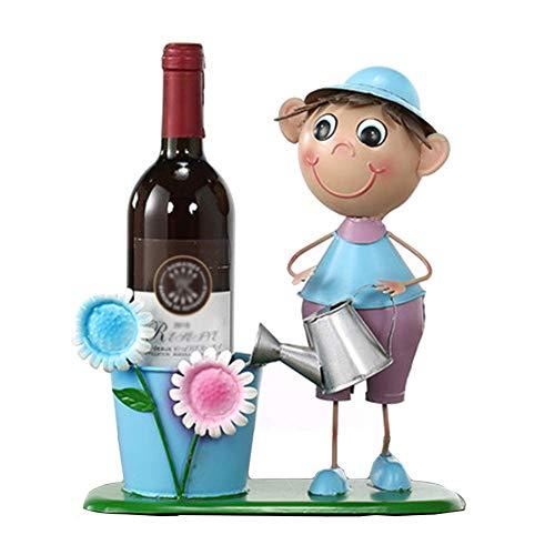 BAIJJ Cartoon-Eisen-Weinregal-Ausstellungsstand, Persönlichkeit einfache Weinhalter-Speicher-Regal - Moderne einfache Art (Farbe: Art 4) - 4 Regal-speicher-speisekammer