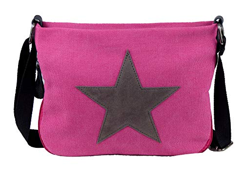yourlifeyourstyle Bunte Umhängetasche Canvas - aufgenähter Stern - oder Camouflage - Maße 27 x 20 cm/ohne Schulterriemen - Damen Mädchen Teenager Tasche (rosa/grau) - Kind Handtasche