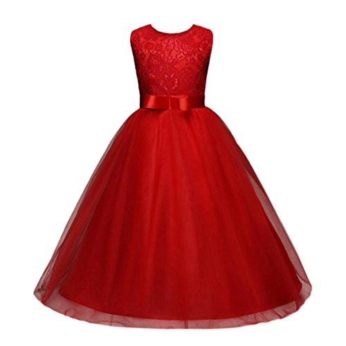 feiXIANG Blume Kinder mädchen Kleid Prinzessin Röcke Urlaub Kleid Hochzeit Brautjungfer Abendmode Kleid Mädchen Spitze Mesh Partykleid Spleißen Lange Slim Rock Elegante Kleid (170, Rot)