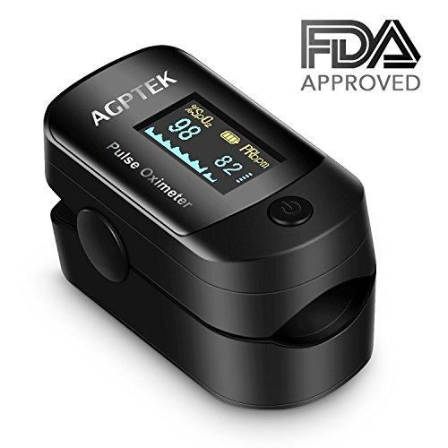 Pulsossimetro di Dito Digitale Professionale AGPTEK, Saturimetro con Display OLED, Funzione di Allarme Per PR, SPO2, Approvato Dalla FDA e CE , con Custodia e Cordino, Batterie AAA Nero