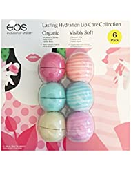 Eos Evolution of Smooth Lip Balm Organic ~ Lasting Hydration Lip Care Collection 6-pack ~ Strawberry Sorbet, Sweet Mint, Vanilla Bean, Coconut Milk, Vanilla Mint, Honey Apple