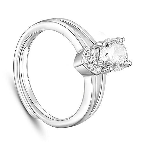 sweetiee 925Sterling Silber Finger Ring Micro Pave Zirkonia Herz und 5, ein Zirkon platin 17mm (verstellbar) für Frau
