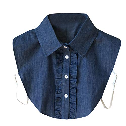 UJUNAOR Frauen Gestreift-Knopf Bluse Krageneinsatz Bluseneinsatz Kragenhemd mit Halber Leibkragen(Blau,One ()