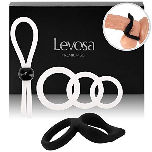 Levosa® 5er Penisring Set - Cockringe + Doppelring mit Klitoris Stimulator & einstellbarer Penisschlaufe - für eine harte und lange Erektion