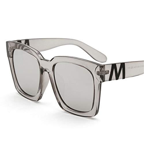 ZCF Quadratische Sonnenbrille mit großer Fassung 2019 Retro-Sonnenbrille Persönlichkeit großes Gesicht breites Gesicht war dünn polarisierte Sonnenbrille (Farbe : Silber)