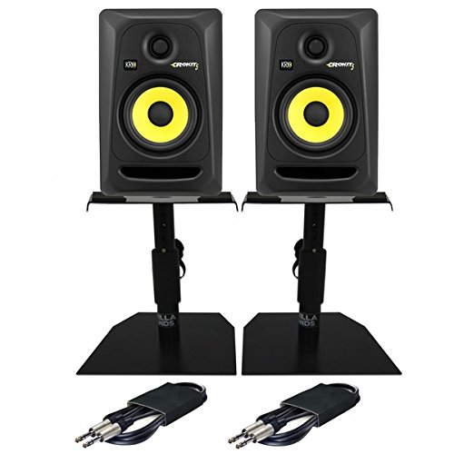 """KRK Rokit RP5 G3 5"""" Active DJ Studio Monitor Speakers PAIR with Stands & Cables"""
