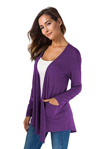 Damen Strickjacken Ultra Weiche Natürliche Klassische Lange Hülse Unregelmäßige Hemge öffnen Drape-Art-Wolljacke mit Tasche Cardigan Violett