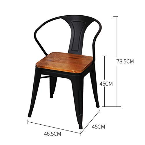 MU Massivholz Barhocker Retro Nostalgie Schmiedeeisen Coffee Chair-Loft American Theme Restaurant Dining Chair