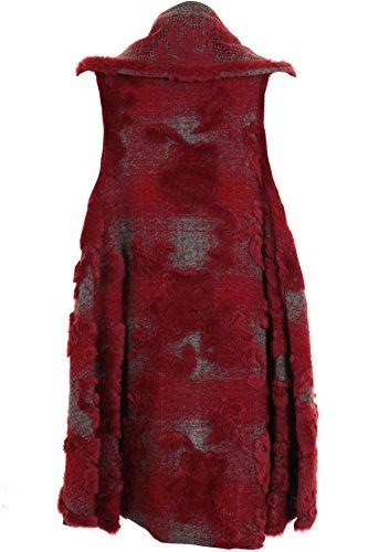 SAPHIR BOUTIQUE Damen Ärmellos Blumen Geprägt Rand Kunstpelz Warm Gewickelt Weste Poncho Rot