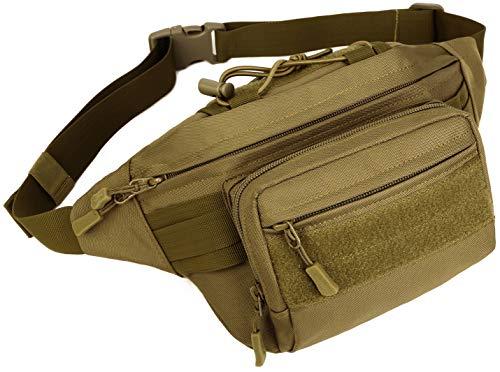 PlasMaller Military Gürteltasche Tactical Hüfttasche Pack Wasserabweisend Hüftgürtel Tasche Tasche für Wandern Klettern Outdoor Bauchtasche braun Coyote Brown Nylon Wedges