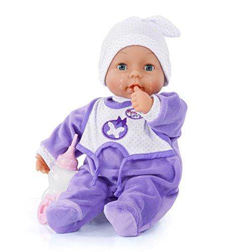 Bayer Design - Muñeca bebé que llora, Piccolina Love, 38 cm, con accesorios, color lila (93884AA)