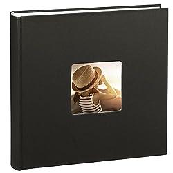 Hama Jumbo Fotoalbum Fine Art, 30 x 30 cm, 100 Seiten in weiß, 50 Blatt, Fotobuch mit Ausschnitt für Bildeinschub, Album schwarz