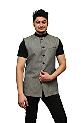 Aadhya FH Mens Grey Festive Nehru Jacket/ Waistcoat (Small)